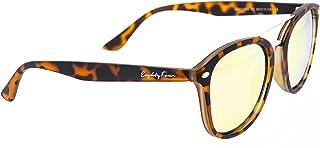 Rc ocio - Gafas de Sol para Hombre y Mujer Polarizadas Deportivas modelo unisex Lentes Redondas efecto Espejo de color rosa - amarillo con protección UV 400 / Marca Española