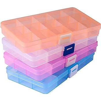 Opret 4 Pack Caja de Almacenamiento Caja Compartimentos de Plástico (15 Compartimentos) con Separadores Ajustables Organizador de Joyería Contenedor de Herramientas: Amazon.es: Hogar