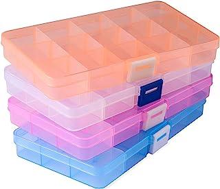 Opret 4 Pack Caja de Almacenamiento Caja Compartimentos de Plástico (15 Compartimentos) con Separadores Ajustables Organiz...