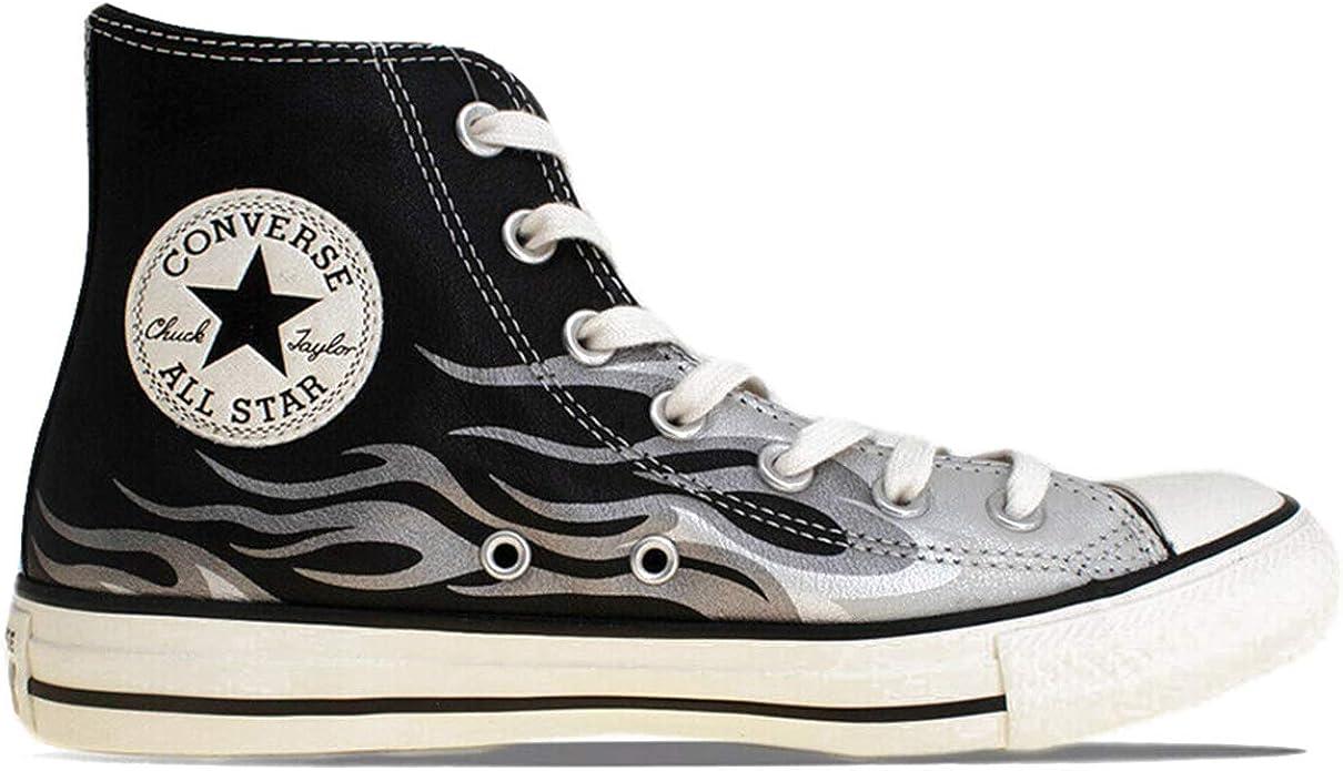 Converse Sneaker da Uomo Star Flame in Pelle Nera con Fiamma ...