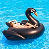 SXMY Hamaca Flotante Piscina, Soporte de Agua de Cisne Negro Inflable de PVC Colchoneta Hinchable Gigante Piscina para Adultos con Bomba de Aire