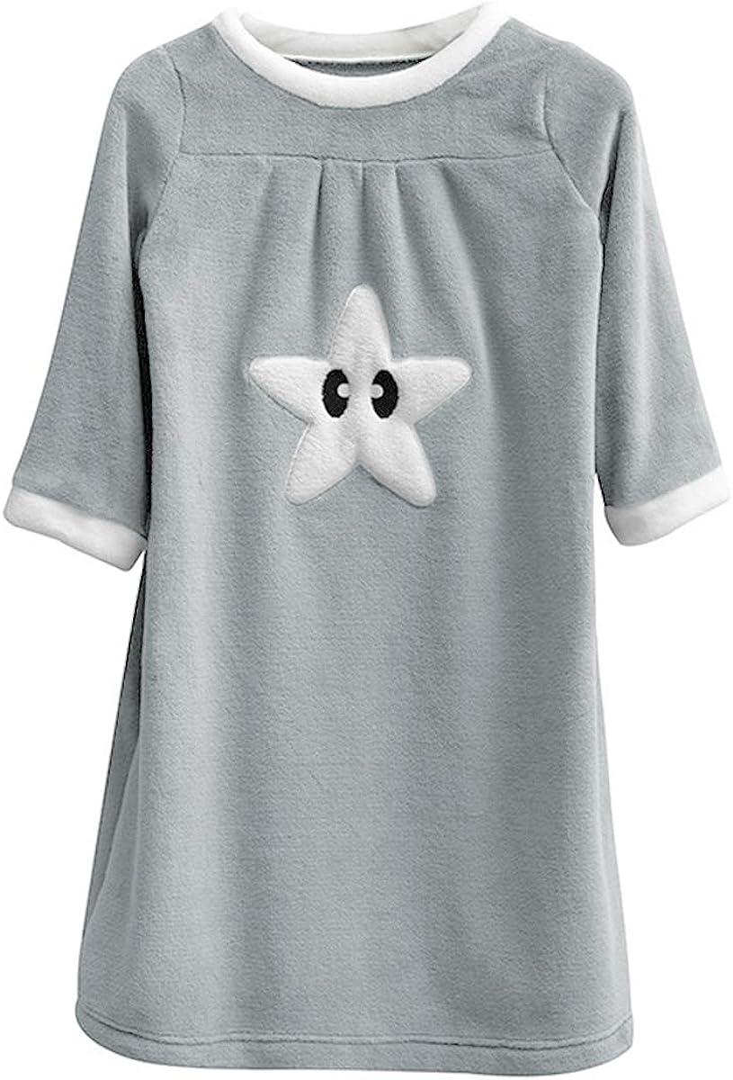 DEBAIJIA Girls Pyjamas Nightdress 90-170CM Kid Child Loose Warm(Grey-130)