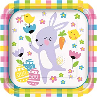 Unique Party 72645 - 23cm Gingham Easter Paper Plates, Pack of 8