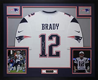 Tom Brady Autographed White New England Patriots Nike Jersey - Beautifully Matted and Framed - Hand Signed By Tom Brady and Certified Authentic by Tristar - Includes Certificate of Authenticity