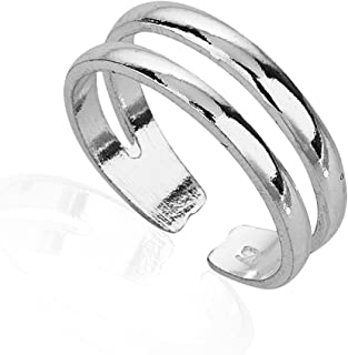 925 Sterling Silver Minimalist Horizontal Double Twin Lines Simple Open Band Toe Ring, 5.5mm