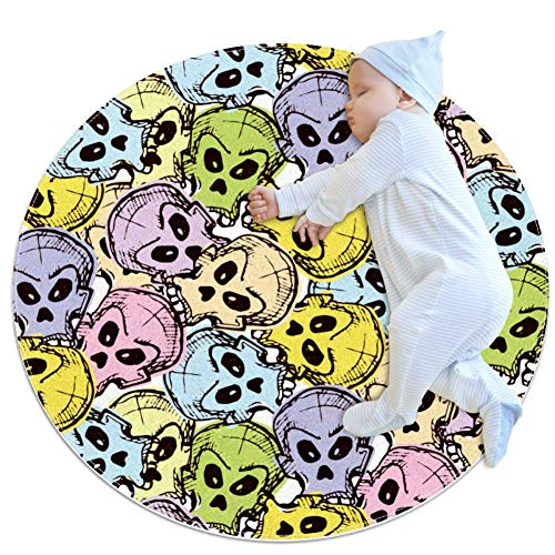 Multicolor Skulls Baby Play Mats - Baby Crawling Mats for Boys and Girls - Children's Room Decor for Play Carpet Floor Carpets