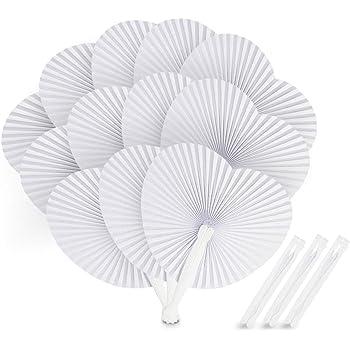 ABSOFINE 24 STK. Fächer Hochzeit Papierfächer Herzförmiges Weiß Papierfächer Faltbar Taschenfächer für Hochzeit Bevorzugung Party Beutel Füller