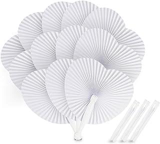 ABSOFINE [Paquete de 24] Ventilador de papel portátil plegable en forma de corazón para bodas de verano, fiesta de favor
