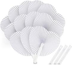 Absofine Éventail en Papier 24pcs Blanc éventail en papier Fan en forme de cœur pliant ventilateurs ronds pour Les Invités Mariage Anniversaire Baptême Fête