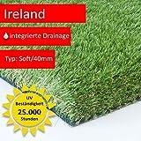Steffensmeier Premium Kunstrasen Ireland | Unglaubliche 40 mm dick und bis 5 m Breite erhältlich | Für Balkon, Terrasse und Garten, Größe: 200x150 cm