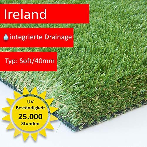 Steffensmeier Premium Kunstrasen Ireland | Unglaubliche 40 mm dick und bis 5 m Breite erhältlich | Für Balkon, Terrasse und Garten, Größe: 400x150 cm