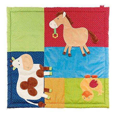 sigikid, 41550 Enfant Mixte Tapis d'Eveil Microfibre 100x100 cm, PlayQ Ferme Multicolore