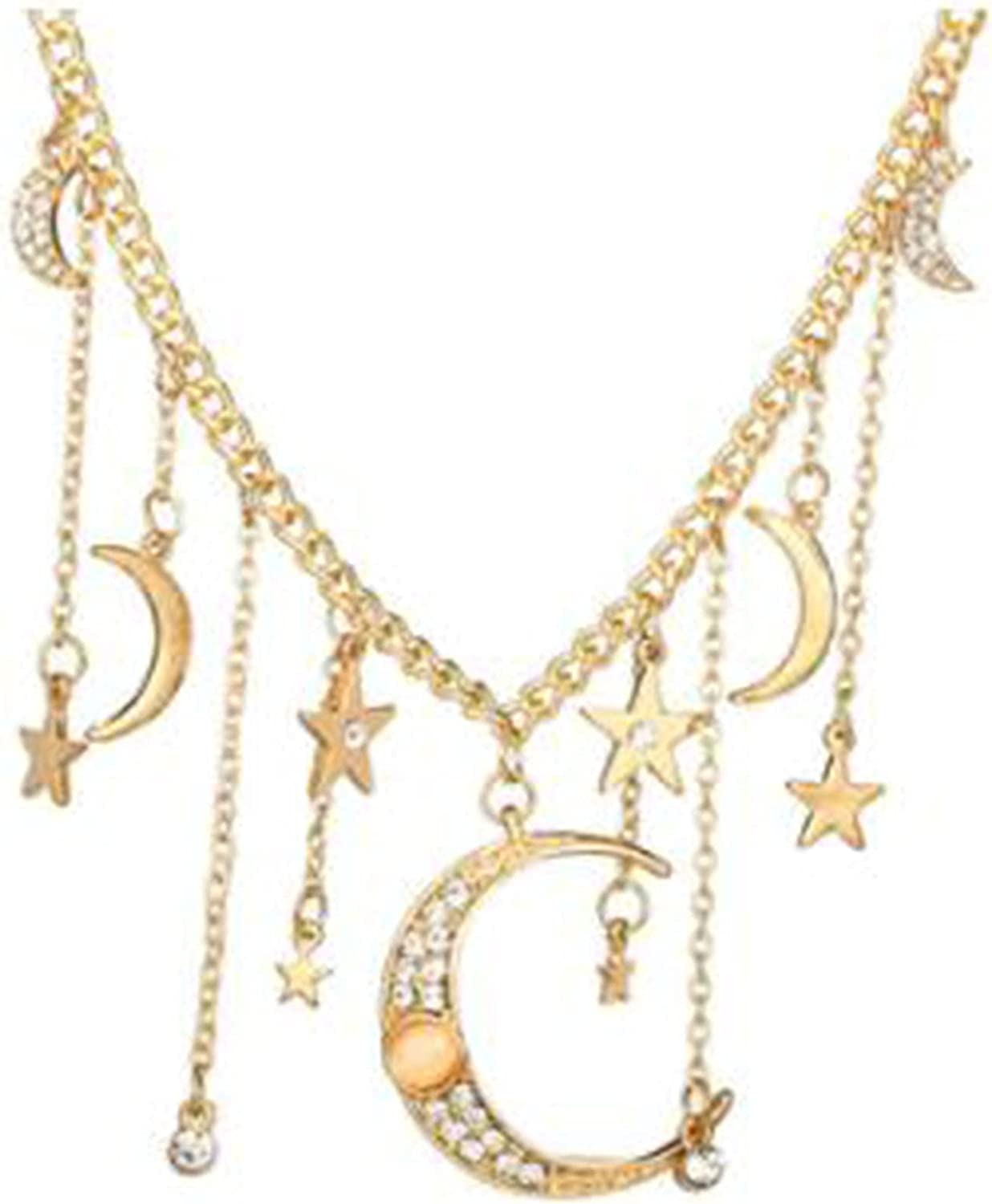 Underleaf Fashion Bohemia Crystal Crescent Moon Star Necklaces Tassel Long Drop Pendants Retro Gold Color Delicate Chain Necklace Accessories Jewelry for Women Girls