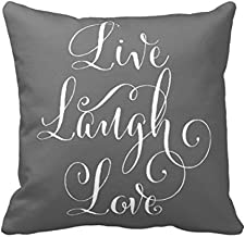Aremazing Inspirational Quotes Super Soft Home Office Decor Throw Pillow Case Cushion Cover with Words for Couch Sofa Bed Chair 18 x 18 (Live Laugh Love/Gray)