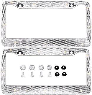 Saihisday License Plate Frame Bling Glitter Rhinestones Shinny White Universal Fit Luxury Waterproof Stainless Steel Front Rear 2 Pack 3116cm w/Screws