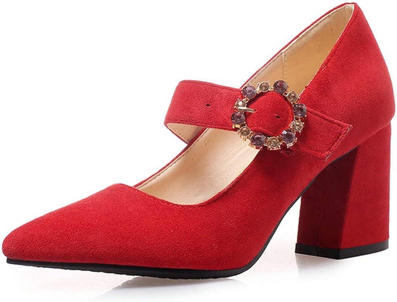 Meiguiyuan Women shoes Flock Women Pumps Pointed Toe Square High Heel Platform Buckle All Match Elegant Ladies