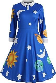 YEMOCILE Womens Stylish Star Moon Cartoon Printed Polo Collar Expansion Skirt Mid Length Dress Basic Blouse