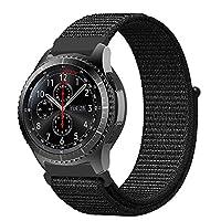 PINHEN 編みナイロン 腕時計ベルト 20MM 22MM スマートウォッチ通用リストバンド ベルクロ締め 通気素材 Samsung Gear S2 Classic /S3 Classic/Frontier Ticwatch E Amazfit pace 交換バンド ファスナー閉鎖 (20MM, 黒)