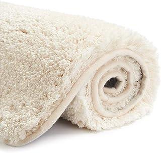 INKARO バスマット お風呂マット 足ふきマット 吸水 速乾 抗菌 滑り止め 丸洗い 浴室 玄関 (ベージュ, 50x80cm)