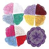 CADANIA 20cm Copa de Colores Posavasos Algodón Vintage Hecho a Mano Crochet Flor Encaje Tapete de Encaje