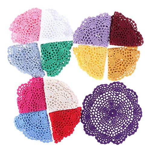 ZIRAN Sottobicchieri Colorati da 20 cm Sottobicchiere in Cotone Vintage Fatti a Mano all'Uncinetto con Fiori in Pizzo