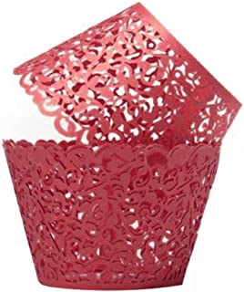 Gusnilo 100pcs Filigree Little Vine Lace Laser Cut Cupcake Wrapper Liner Baking Cup Muffin Case Trays Wedding Birthday Party Decoration (Red)