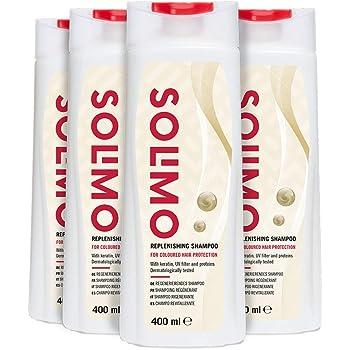 Marchio Amazon - Solimo Shampoo rigenerante per proteggere i capelli colorati con cheratina, filtro UV e proteine- Confezione da 4 (4 flaconi x 400ml)