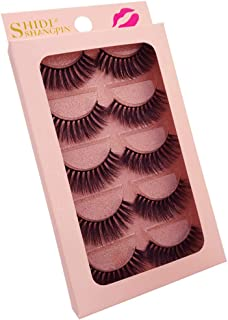 Perfeclan 5 Pairs Fashion Beauty Makeup Handmade False Natural Long Eye Lashes Eyelash,Chemical-free & Hypo-allergenic & Cruelty-free - Black, G904