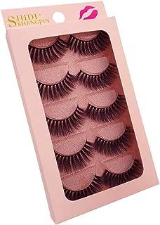 Perfeclan 5 Pairs Fashion Beauty Makeup Handmade False Natural Long Eye Lashes Eyelash,Chemical-free & Hypo-allergenic & Cruelty-free - Black, G904