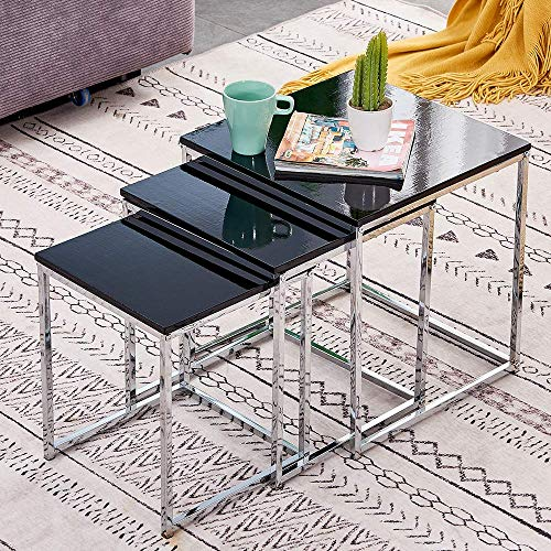 Black High Gloss Nesting Tables Cube Nested of 3 Tables Living Room Wooden Glossy Small Coffee Tables Modern Side Table End Table Space Saving Stackable Nested Tables with Chrome Frame