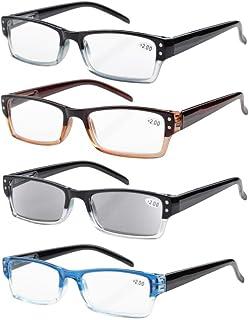 Eyekepper 4-pack Spring Hinges Rectangular Reading Glasses Includes Sunshine Readers +1.50