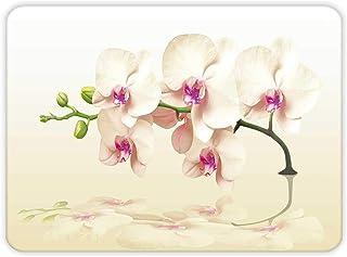 Krem Orkide Desen| Cam Kesme Tahtası (20cm x 30cm)
