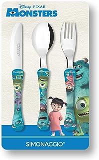 Jogo de Talheres Infantil Disney Kids Monstros, Simonaggio, Multicor, Pacote de 3