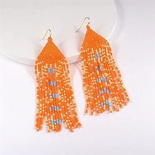 السنة الجديدة الصيف مجوهرات الخرز بوهيميا بوزميا يادا أقراط المرأة الانجراف طويلة أوائل يانجين (اللون: برتقالي)