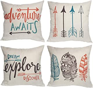 U-LOVE Feather Arrows Throw Pillow Case Inspirational Quote Cushion Cover Home Decorative Square Pillowcases 18×18 Inch,4p...