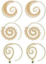 Zealmer Women Bohemian Tribal Swirl Hoop Earrings