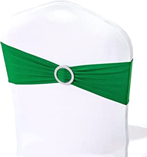 50pcs Wedding Chair Cover Bow Sash with Round Buckle Slider Spandex Decorations for Reception 16 Colors, Emerald green