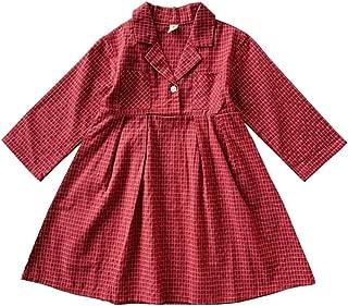 Xifamniy Infant Girls Long Sleeve Skirt Simple Plaid Cotton Fashion Lapel Tutu Dress