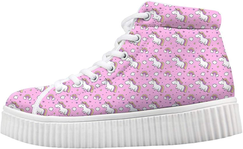 Owaheson Platform Lace up Sneaker Casual Chunky Walking shoes High Top Women Rainbow Cloud Proud Unicorn