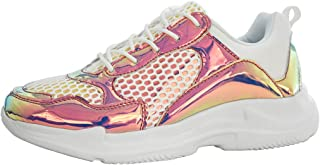 LUCKY-STEP Fashion Metallic Leatherette Women Sneakers - Holographic Iridescent Casual Walking Shoes with Round Toe
