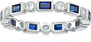 Platinum-Plated Sterling Silver Created or Genuine Gemstone All-Around Band Ring set with Swarovski Zirconia Accents