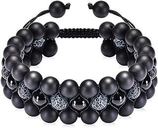 Natural Stone Beads Chakra Bracelet 8mm Lava Rock Tiger Eye Stone Bracelet Adjustble Essential Oil Diffuser Bracelets 3-La...
