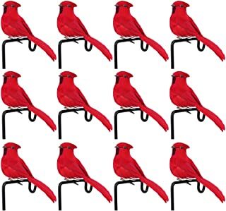 XINdream Artificial Red Cardinal Birds, 12PCS Simulation Feathers Foam Birds with Metal Clip, Christmas Tree Ornament Decorations Crafts