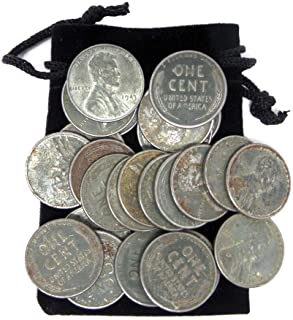 1943 - Set of 20 Steel Pennies Circulated Condition with 5 Free Bonus and Black Velvet Gift Bag Circulated