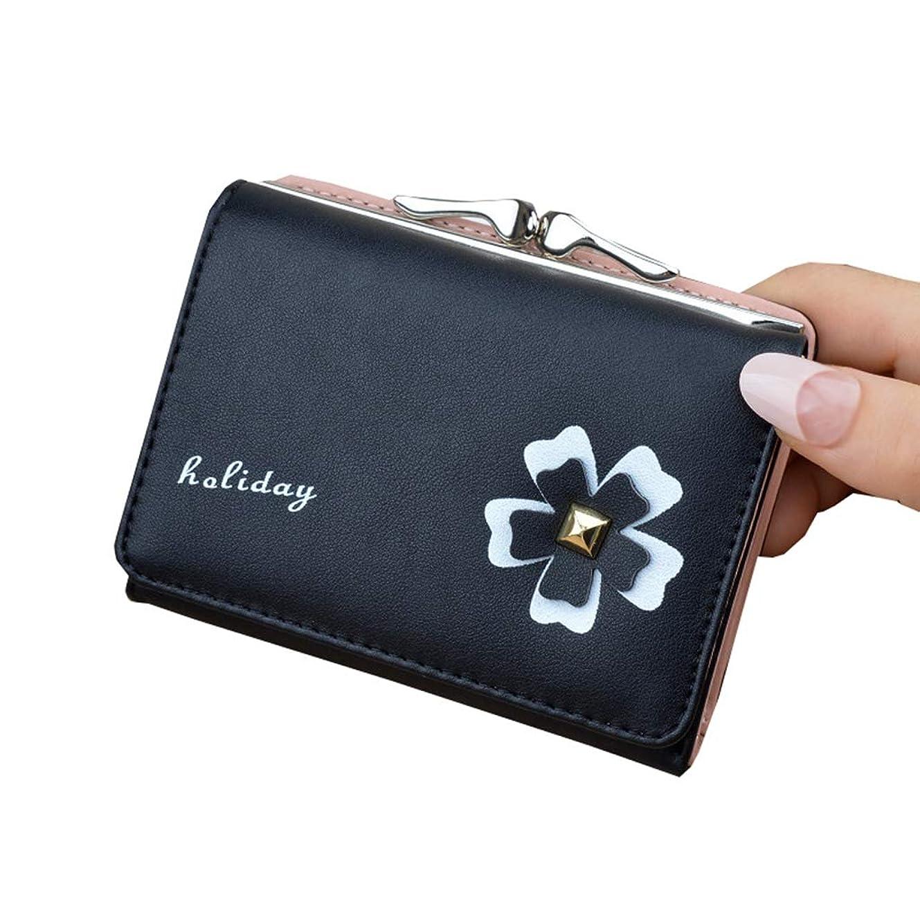 夕暮れスパイマナーミニ 財布 レディース 三つ折り かわいい 人気 がま口 多機能 大容量 コンパクト 軽量 プレゼント 花 10*9*3.2cm ピンク ブルー ブラック ワインレッド パープル