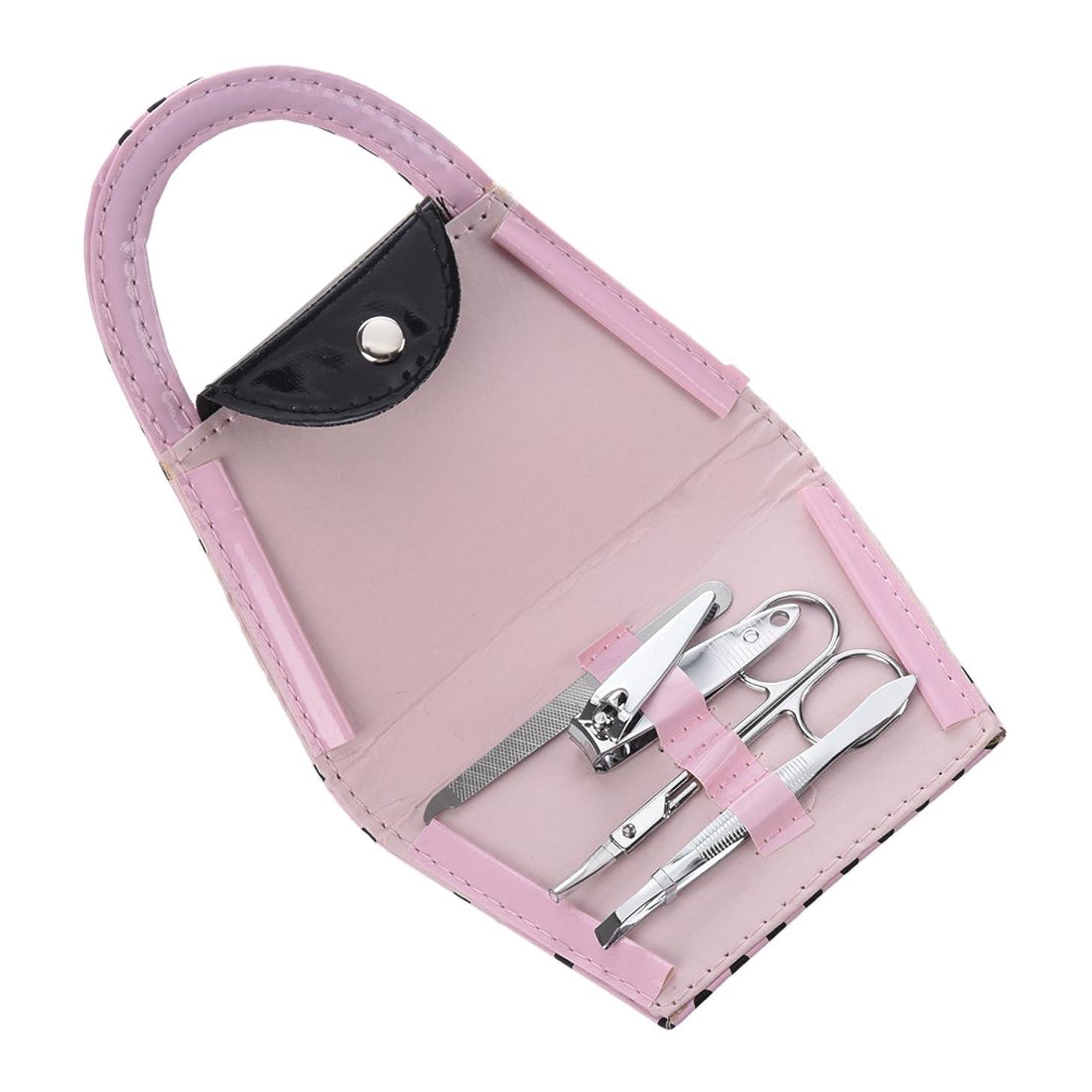 研磨剤トークンによってネイルマニキュア,SODIAL(R)旅行ハンドバッグネイルマニキュアキットアクセサリーケア ミラーピンセットクリッパー
