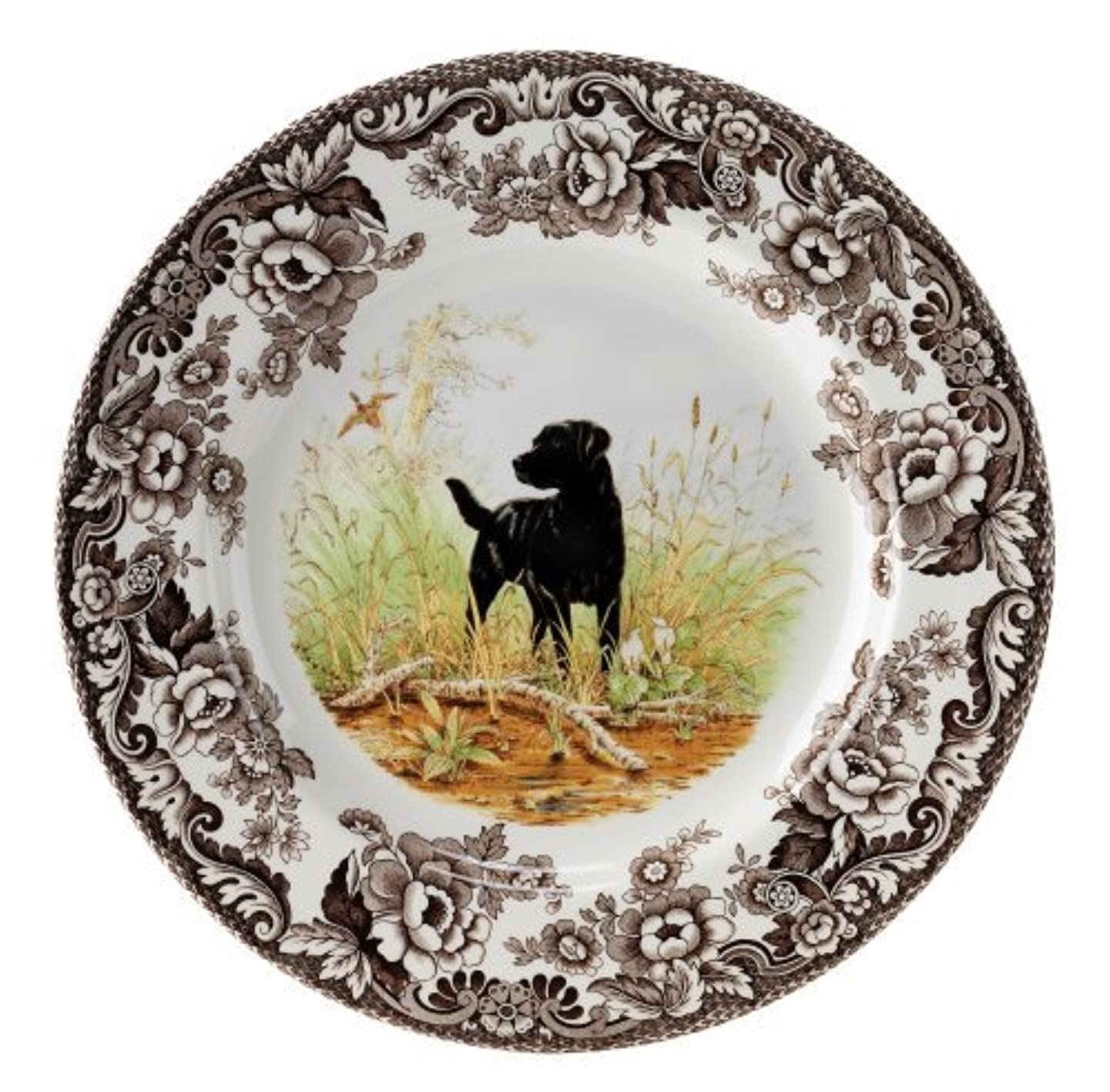 Spode Woodland Hunting Dogs Black Labrador Salad Plate by Spode