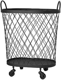 ZTMN Panier à Linge en métal avec Roues Panier à Linge à Grille Durable avec poignée pour bac de Rangement de vêtements (C...