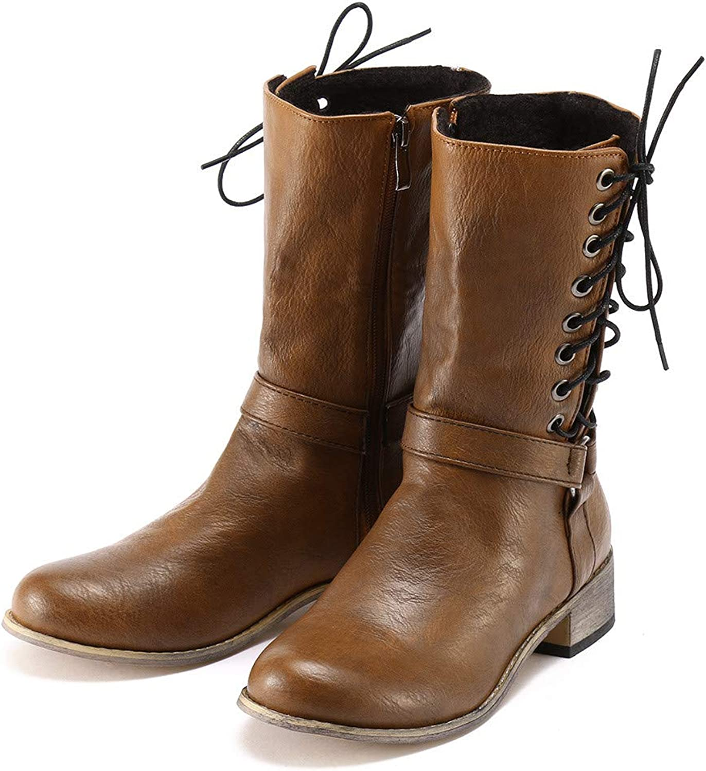 Women's Retro Pleated Care Ankle Boots, Soft Comfortable Durable Low Heel Non-Slip Zipper Knight shoes