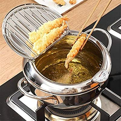 Deep Frying Pan, Japanese-style Tempura Deep Fryer With Thermometer, Lid And Oil Drip Drainer Rack, Nonstick Stainless Steel Fryer Pot for Kitchen Cooking